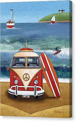 Volkwagen Surfboard Canvas Print by Peter Adderley