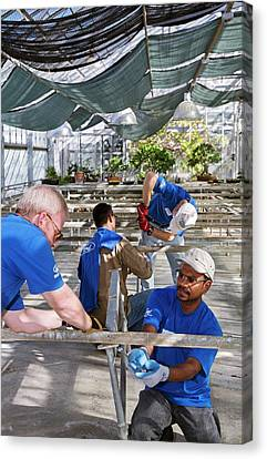 Volunteers At A Botanic Garden Canvas Print by Jim West