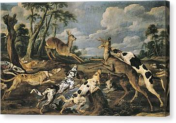 Vos, Paul De 1596-1678. Roe Deers Hunt Canvas Print by Everett