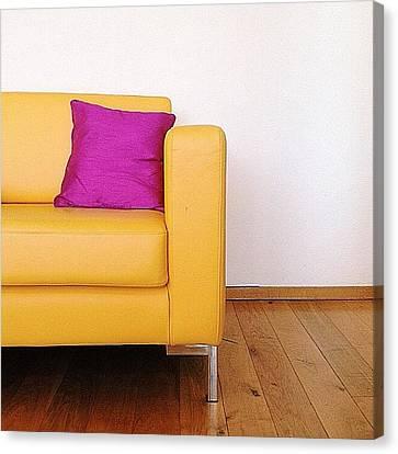 Sofa Canvas Print featuring the photograph #vscocam #vsco #yellow #sofa #studio by Kaeman Graham