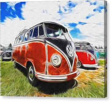 Vw Bus Canvas Paint Canvas Print by Steve McKinzie