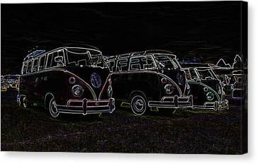 Vw Microbus Glow Canvas Print by Steve McKinzie