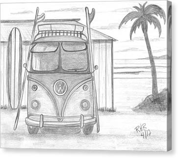 Vw Surfing Bus Canvas Print by Ray Ratzlaff
