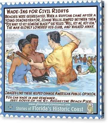 Wade-ins For Civil Rights Canvas Print by Warren Clark