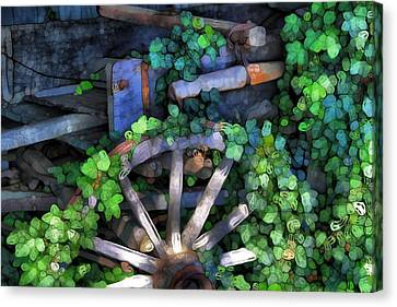 Wagon Wheel And Ivy Abstract Canvas Print by Dan Sproul