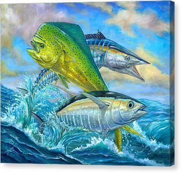 Wahoo Mahi Mahi And Tuna Canvas Print by Terry  Fox