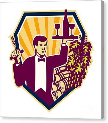 Waiter Serve Wine Glass Bottle Shield Retro Canvas Print by Aloysius Patrimonio