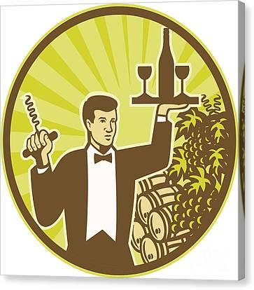 Waiter Serving Wine Grapes Barrel Retro Canvas Print by Aloysius Patrimonio