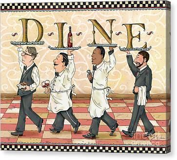 Waiters Dine Canvas Print by Shari Warren
