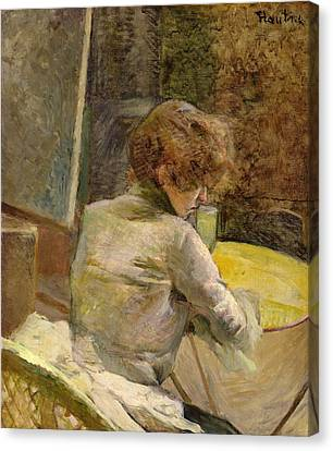 Waiting At Grenelle Canvas Print by Henri de Toulouse-Lautrec