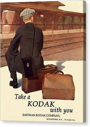 Waiting For The Train. Circa 1915. Canvas Print by Unknown Artist