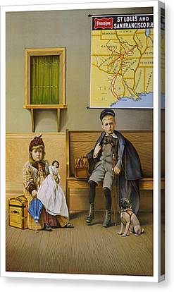 Waiting Room For The Frisco Line. Circa 1899. Canvas Print by Strobridge Litho