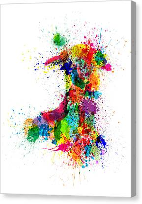 Wales Paint Splashes Map Canvas Print by Michael Tompsett
