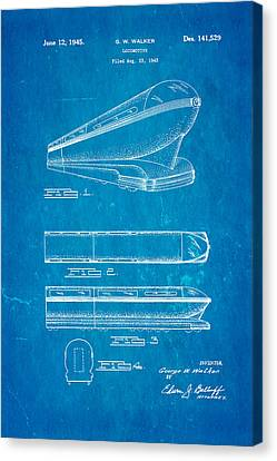 Walker Train Locomotive Patent Art 1945 Blueprint Canvas Print by Ian Monk