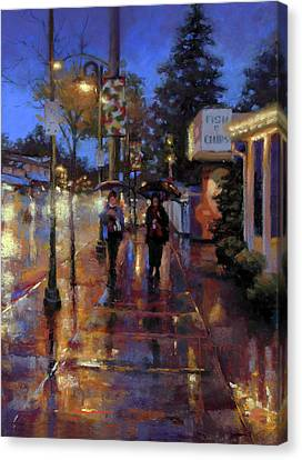 Walkin' In The Rain Canvas Print by Dianna Ponting