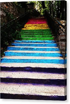 Walkin' On Rainbow Canvas Print by Lucy D