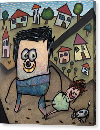 Walkin The Dog Canvas Print by James W Johnson