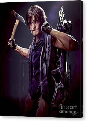 Walking Dead - Daryl Dixon Canvas Print by Paul Tagliamonte