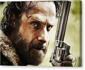 Walking Dead - Rick Canvas Print by Paul Tagliamonte