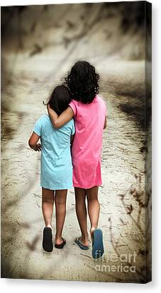 Walking Girls Canvas Print by Carlos Caetano