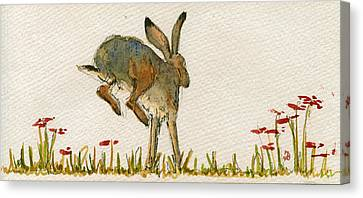 Walking Hare Canvas Print by Juan  Bosco