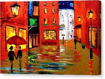 Walking In The Rain Canvas Print by Mariana Stauffer