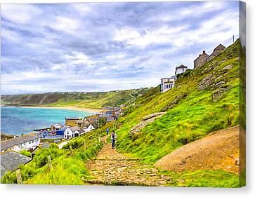 Walking Into Sennen Cove On The Cornish Coast Canvas Print by Mark E Tisdale