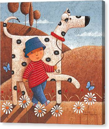 Walking The Dog Canvas Print by Peter Adderley