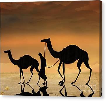 Walking The Sahara Canvas Print by Bedros Awak