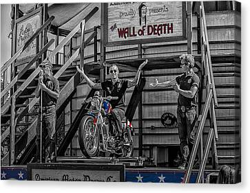 Wall Of Death Riders Canvas Print by Kevin Cable