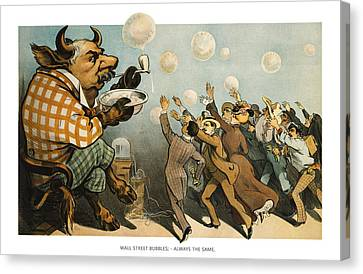 Wall Street Bubbles Always The Same Canvas Print by Aged Pixel