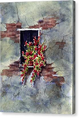 Wall With Red Flowers Canvas Print by Sam Sidders