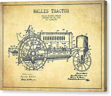 Wallis Tractor Patent Drawing From 1916 - Vintage Canvas Print by Aged Pixel
