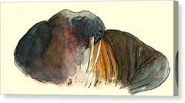 Walrus Canvas Print by Juan  Bosco