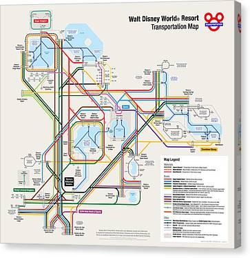 Walt Disney World Resort Transportation Map Canvas Print by Arthur De Wolf