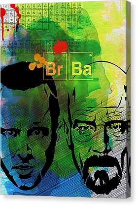 Walter And Jesse Watercolor Canvas Print by Naxart Studio