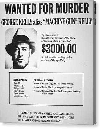 Wanted Poster For Machine Gun Kelly Canvas Print by American School