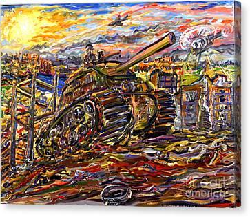 War At Sunset Canvas Print by Arthur Robins