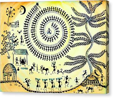 Warli Day Canvas Print by Anjali Vaidya