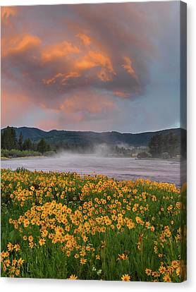 Warm River Sunset Canvas Print by Leland D Howard