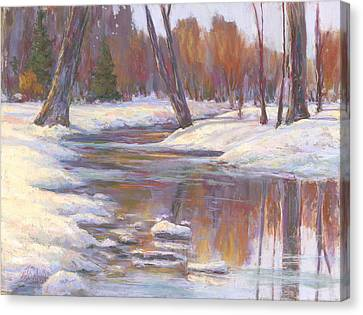 Warm Winter Reflections Canvas Print by Billie Colson