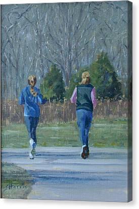 Warner Park Runners Canvas Print by Sandra Harris