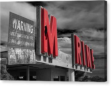 Warning M Rine Black And White Canvas Print by Scott Campbell
