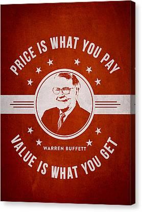 Warren Buffet - Red Canvas Print by Aged Pixel
