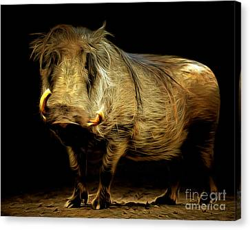 Warthog 20150210brun Canvas Print by Wingsdomain Art and Photography