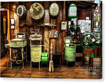 Washing Machines Of Yesteryear Canvas Print by Kaye Menner