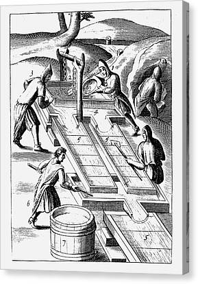 Washing Ore To Extract Gold Canvas Print by Universal History Archive/uig