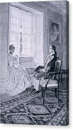 Washington And Mary Philipse, Illustration From Colonel Washington By Woodrow Wilson, Pub Canvas Print by Howard Pyle