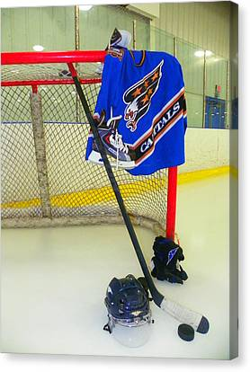 Washington Capitals Blue Away Hockey Jersey Canvas Print by Lisa Wooten