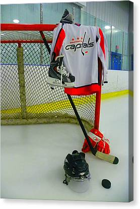 Washington Capitals Home Hockey Jersey Canvas Print by Lisa Wooten